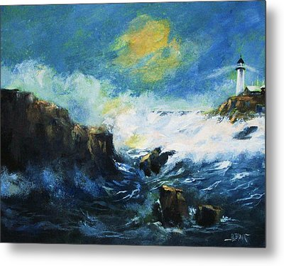 Metal Print featuring the painting Off Shore Breakers At Dusk by Al Brown