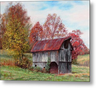 Off The Beaten Track-old Barn With Red Roof Metal Print