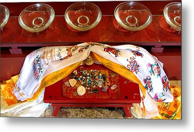 Metal Print featuring the photograph Offerings At The Foot Of The Buddha by Brenda Pressnall