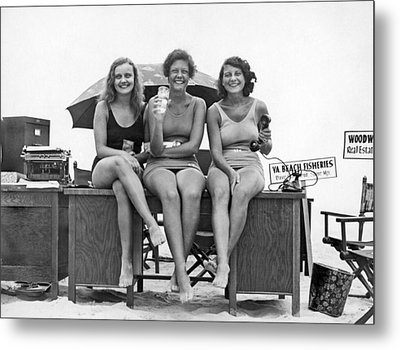 Office Moves To The Beach Metal Print by Underwood Archives