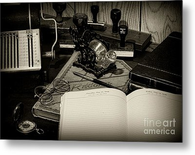 Office - The Recordkeeper Metal Print by Paul Ward