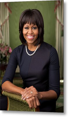 Official Portrait Of First Lady Michelle Obama Metal Print by Celestial Images