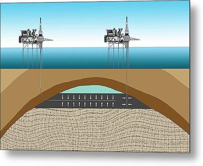 Offshore Oil Drilling Metal Print by Mikkel Juul Jensen