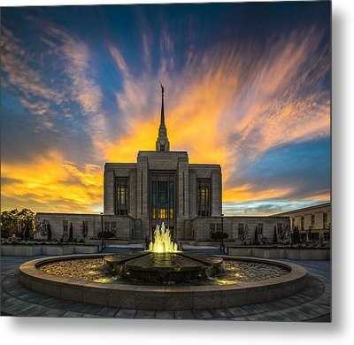 Ogden Temple Metal Print by Peter Irwindale