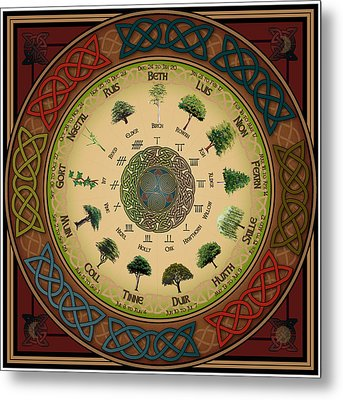 Ogham Tree Calendar Metal Print