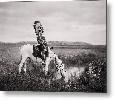 Oglala Indian Man Circa 1905 Metal Print by Aged Pixel