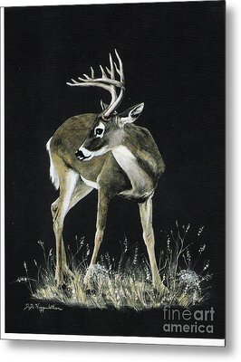 Metal Print featuring the painting Oh Deer.....listen by DiDi Higginbotham