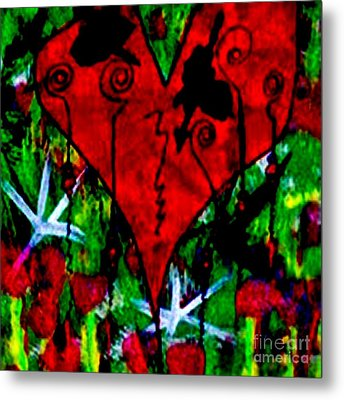 Oh My Pink Heart Metal Print by Donna Daugherty