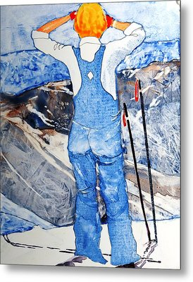Oh Say Can You Ski Metal Print by Elizabeth Carr