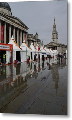 Oh So London - Rain Puddles And Reflections Metal Print by Georgia Mizuleva