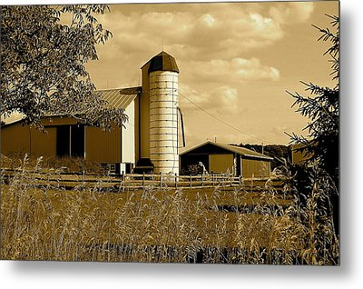 Ohio Farm In Sepia Metal Print by Frozen in Time Fine Art Photography