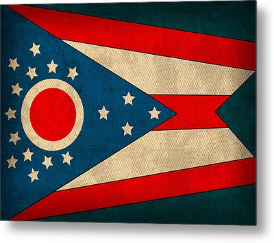 Ohio State Flag Art On Worn Canvas Metal Print