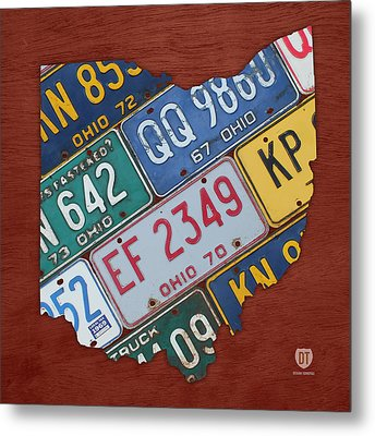 Ohio State Map Made Using Vintage License Plates Metal Print