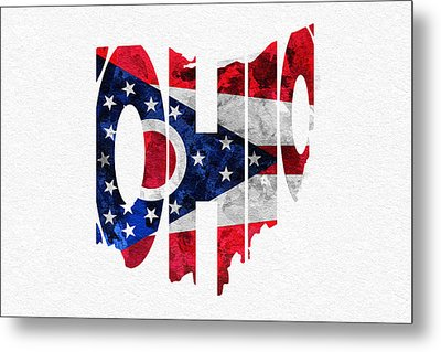 Ohio Typographic Map Flag Metal Print by Ayse Deniz