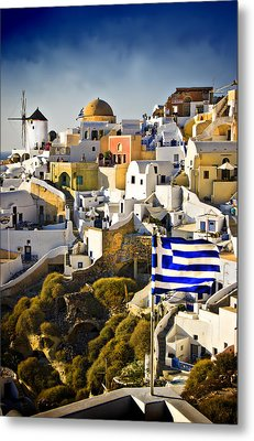 Metal Print featuring the photograph Oia And A Greek Flag by Meirion Matthias