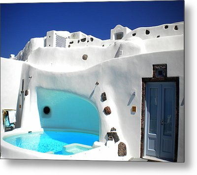 Oia Santorini  With Direct View To The Oceon Greece Metal Print