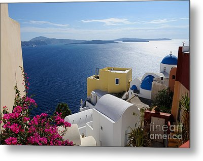 Oia Village In Santorini Island  Metal Print