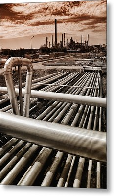 Oil And Gas Industry Metal Print by Christian Lagereek