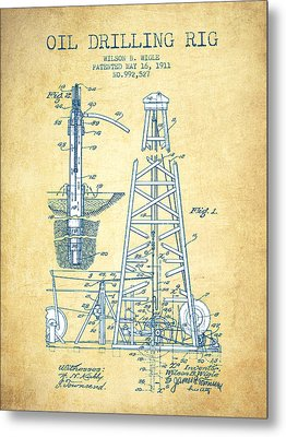 Oil Drilling Rig Patent From 1911 - Vintage Paper Metal Print by Aged Pixel