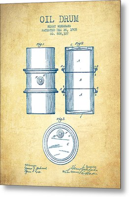 Oil Drum Patent Drawing From 1905 - Vintage Paper Metal Print