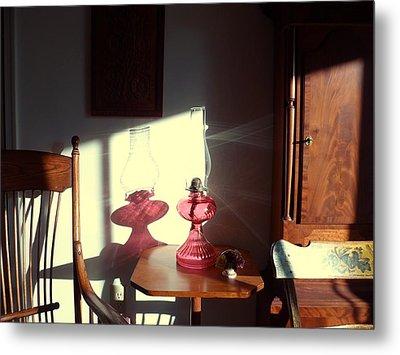 Oil Lamp Reflections Metal Print by Gordon Maull