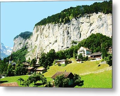 Oil Painting - Beautiful Scenery In Switzerland Metal Print