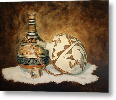 Oil Painting - Indian Pots Metal Print