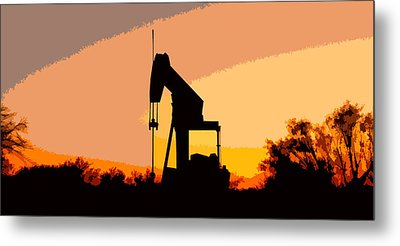 Oil Pump In Sunset Metal Print by James Granberry