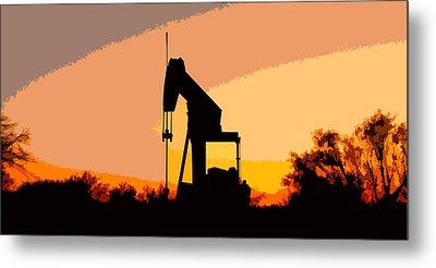 Oil Pump In Sunset Metal Print