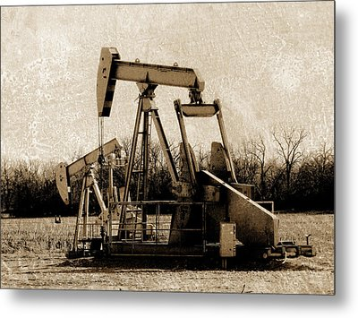 Oil Pump Jack In Sepia Metal Print by Ann Powell