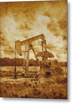 Oil Pump Jack In Sepia Two Metal Print by Ann Powell