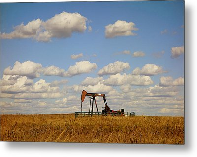 Oil Pump Jack On The Prairie Metal Print by Ann Powell