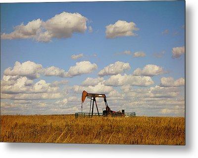 Oil Pump Jack On The Prairie Metal Print