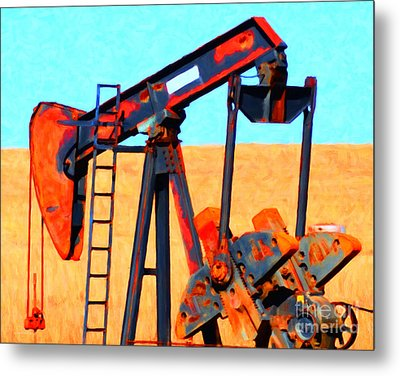 Oil Pump - Painterly Metal Print by Wingsdomain Art and Photography