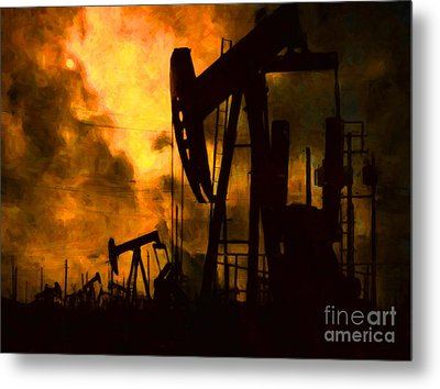 Oil Pumps Metal Print by Wingsdomain Art and Photography