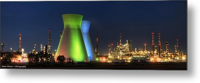 Oil Refineries Panoramic View Metal Print by Isaac Silman