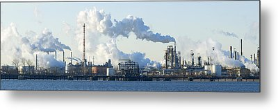 Oil Refinery At The Waterfront Metal Print by Panoramic Images