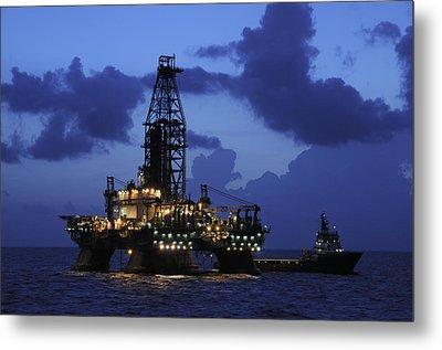 Metal Print featuring the photograph Oil Rig And Vessel At Night by Bradford Martin