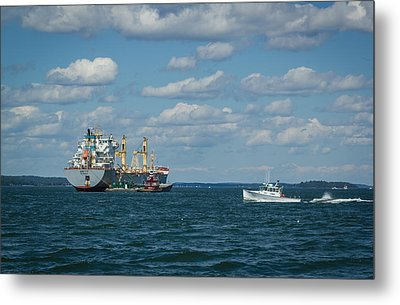 Metal Print featuring the photograph Oil Tanker And Lobster Boat by Jane Luxton