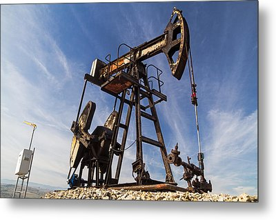 Oil Well  Metal Print by Cristina-Velina Ion