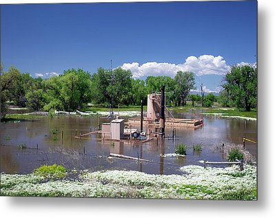 Oil Well Flooded By River Metal Print by Jim West
