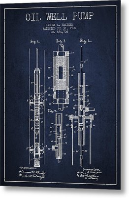 Oil Well Pump Patent From 1900 - Navy Blue Metal Print by Aged Pixel