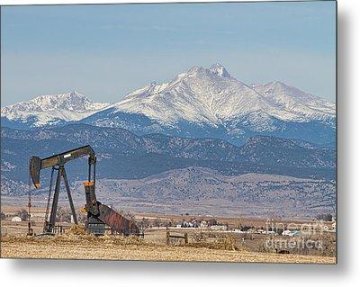 Oil Well Pumpjack And Snow Dusted Longs Peak Metal Print