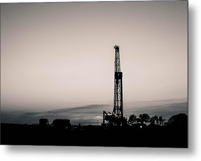 Oil Well Sunset Metal Print