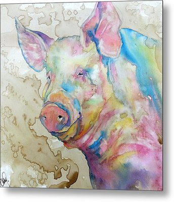 Metal Print featuring the painting Oink by Christy  Freeman