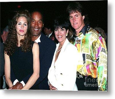 O.j. Simpson - Paula Barbieri - Kris And Bruce Jenner Party In Palm Springs Metal Print