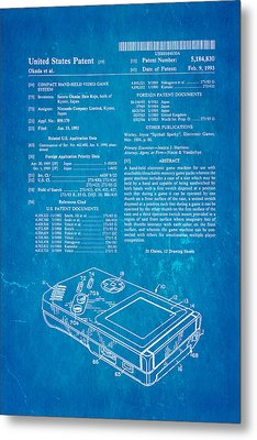 Okada Nintendo Gameboy Patent Art 1993 Blueprint Metal Print by Ian Monk