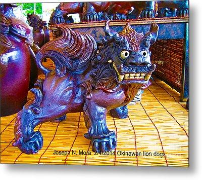 Okinawan Lion Dogs Metal Print