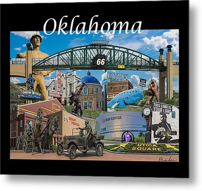 Oklahoma Collage With Words Metal Print