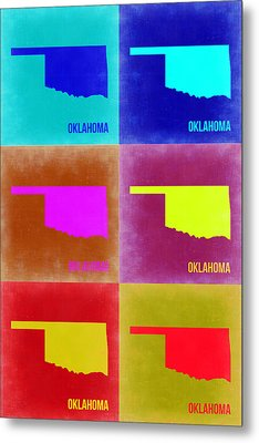 Oklahoma Pop Art Map 2 Metal Print by Naxart Studio